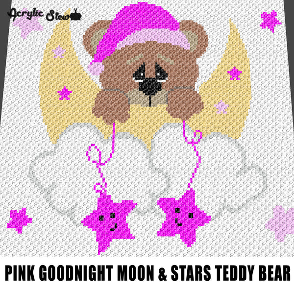 Pink Goodnight Teddy Bear Moon and Stars crochet graphgan blanket pattern; graphgan pattern, c2c, cross stitch graph; pdf download; instant download