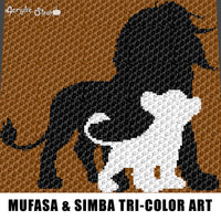 Mufasa and Simba Lion King Disney Movie Characters Jungle Animals Tri-Color Art crochet graphgan blanket pattern; graphgan pattern, c2c; cross stitch; graph; pdf download; instant download