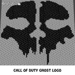 Call of Duty Ghost Skull Logo Icon crochet graphgan blanket pattern; graphgan pattern, c2c, knitting, cross stitch graph; pdf download; instant download