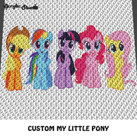 Custom My Little Ponies TV and Movie Cartoon Characters crochet graphgan blanket pattern; c2c, cross stitch graph; pdf download; instant download