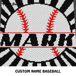 Custom Personalized Baseball With Name crochet graphgan blanket pattern; graphgan pattern, c2c, cross stitch graph; pdf