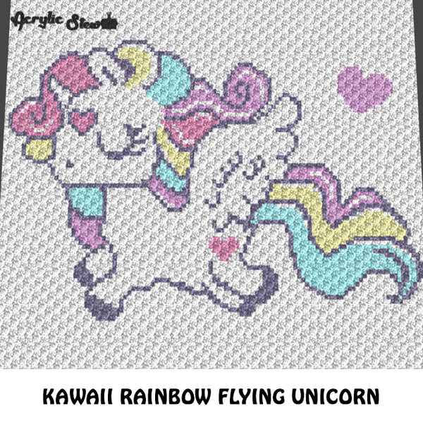 Kawaii Rainbow Flying Unicorn Fantasy crochet graphgan blanket pattern; c2c; single crochet; cross stitch; graph; pdf download; instant download