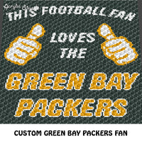 Custom This Football Fan Quote Green Bay Packers NFL Colors crochet graphgan blanket pattern; c2c, cross stitch graph; pdf download; instant download