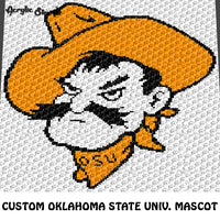 Custom Oklahoma State University Mascot 'Pistol Pete' Head Logo crochet graphgan blanket pattern; c2c, cross stitch graph; pdf download; instant download