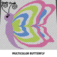 Spring Colors Butterfly crochet graphgan blanket pattern; c2c, cross stitch graph; pdf download; instant download