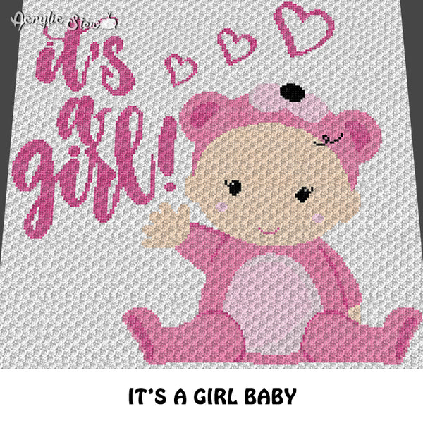 It's A Girl Baby and Hearts Baby Shower crochet graphgan blanket pattern; c2c, cross stitch graph; pdf download instant download
