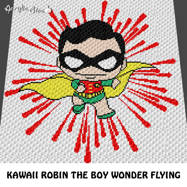 Robin The Boy Wonder Batman Sidekick Superhero DC Comics Superhero crochet blanket pattern; graphgan pattern, c2c, cross stitch graph; pdf download; instant download