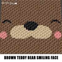 Brown Teddy Bear Smiling Face crochet graphgan blanket pattern; c2c, cross stitch; graph chart; pdf download; instant download