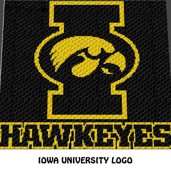 Iowa University Hawkeyes College Logo crochet graphgan blanket pattern; c2c, cross stitch graph; pdf download; instant download