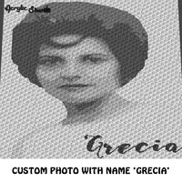 Custom Vintage Photo Personalized with Name crochet graphgan blanket pattern; c2c, cross stitch graph; instant download