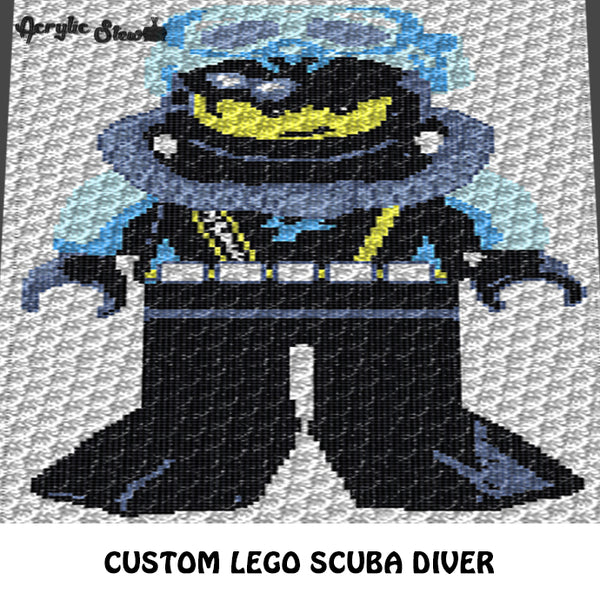 Custom Lego Scuba Diver Photo crochet graphgan blanket pattern; c2c, cross stitch graph; pdf download; instant download