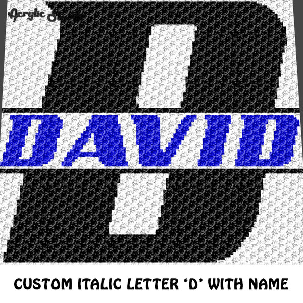 Custom Personalized Letter 'D' and Custom Name for Boy crochet gragphan blanket pattern; graphgan pattern, c2c, cross stitch graph; pdf