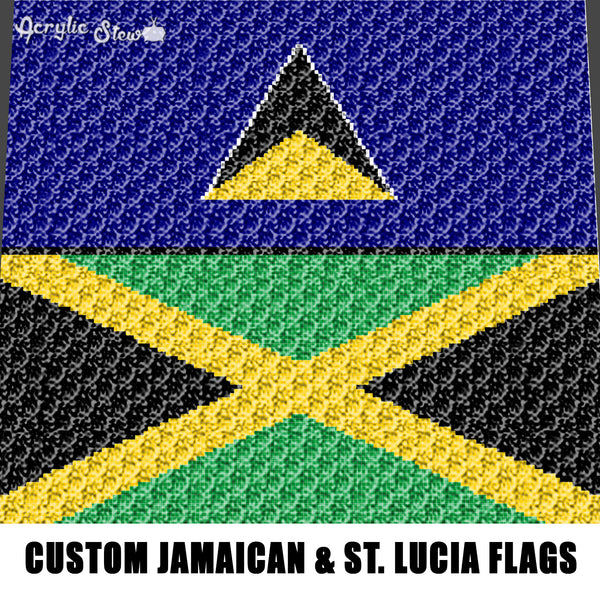 Custom Jamaican and St. Lucia Flags Collage crochet graphgan blanket pattern; c2c, cross stitch graph; pdf download; instant download