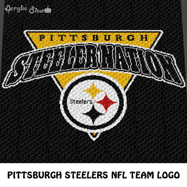 Pittsburgh Steelers Pittsburgh Nation NFL Football Team Logo Design crochet graphgan blanket pattern; c2c, cross stitch graph; pdf download; instant download