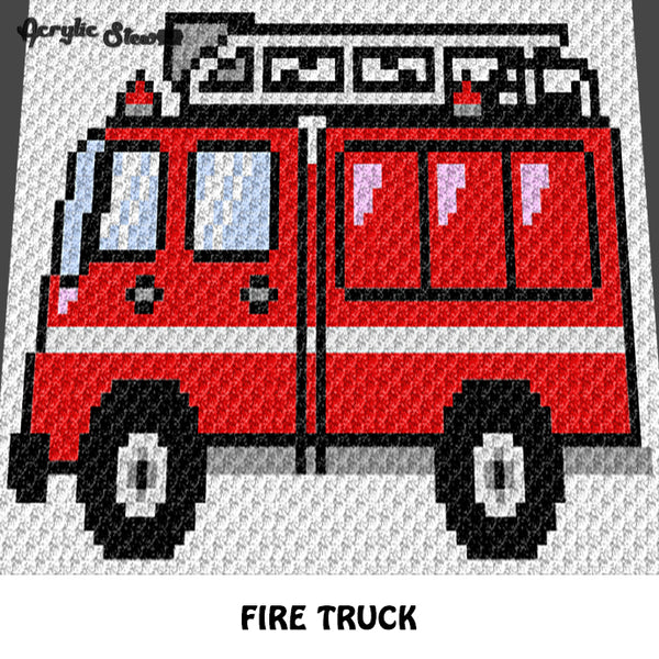 Fire Truck Fireman crochet graphgan blanket pattern; c2c, knitting, cross stitch graph; pdf download; instant download