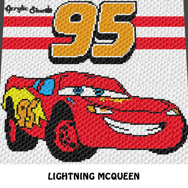Lightning McQueen 95 Cars Movie Disney Pixar Character crochet graphgan blanket pattern; graphgan pattern, c2c, cross stitch graph; pdf download; instant download