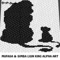 Mufasa and Simba Lion King Movie Disney Character Alpha Art crochet graphgan blanket pattern; graphgan pattern, c2c, cross stitch graph; pdf download; instant download