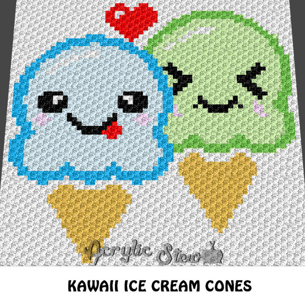 Kawaii Ice Cream Cones crochet blanket pattern; c2c, cross stitch graph; instant download