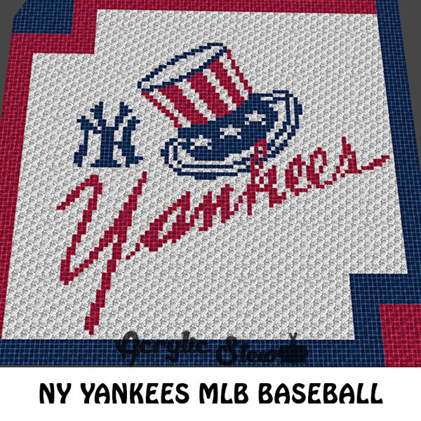 New York Yankees MLB crochet blanket pattern; c2c, cross stitch graph; instant download