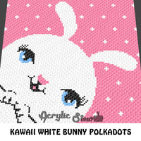 Kawaii White Bunny Polkadot  crochet blanket pattern; c2c, cross stitch graph; instant download