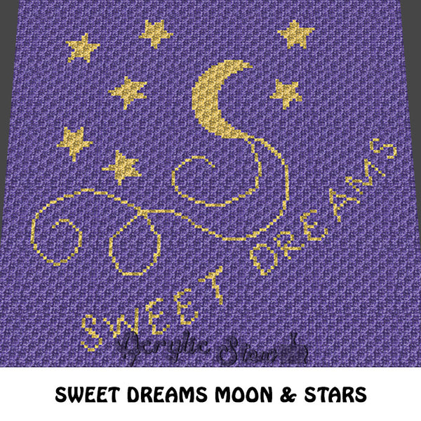 Sweet Dreams Moon and Stars crochet blanket pattern; c2c, cross stitch graph; instant download