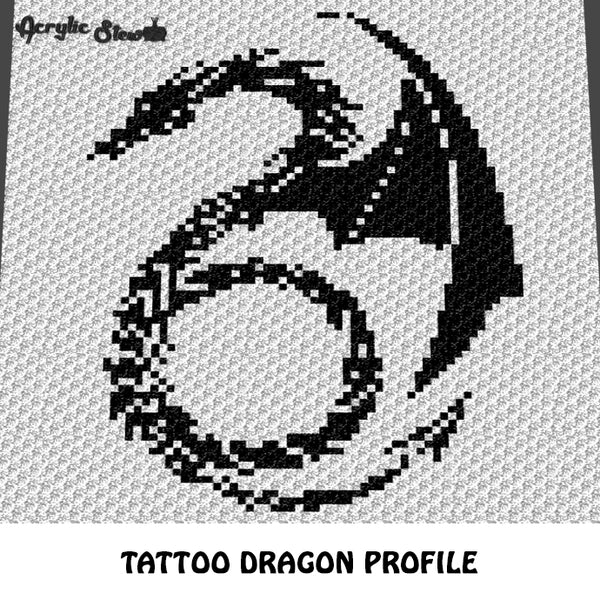 Tattoo Dragon Flying Alpha Art crochet graphgan blanket pattern; c2c, cross stitch graph; pdf download; instant download