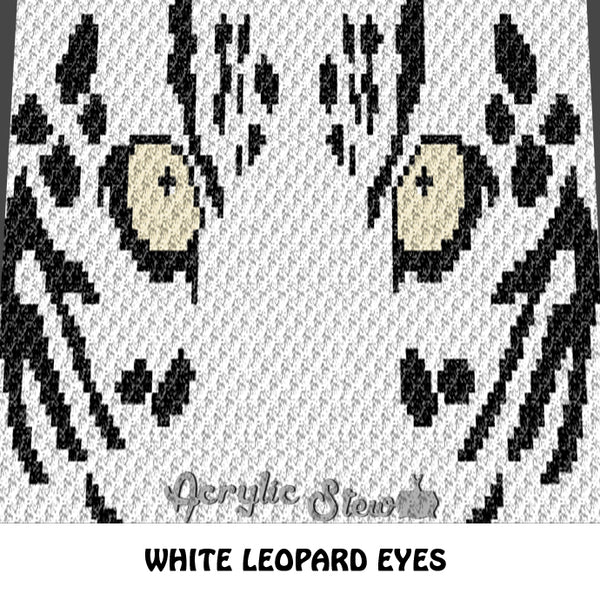 White Leopard  crochet blanket pattern; c2c, cross stitch graph; instant download