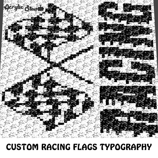 Custom Racing Flags Typography crochet graphgan blanket pattern; c2c, cross stitch graph; pdf download; instant download