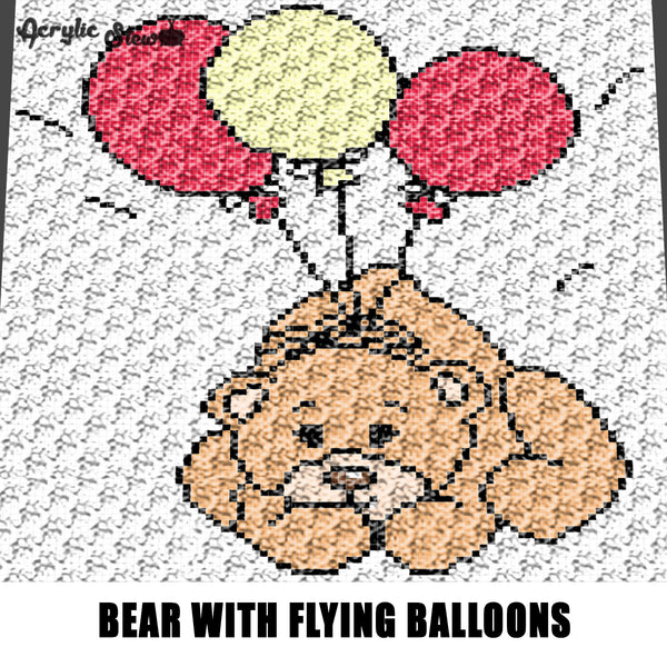 Teddy Bear Flying With Balloons Cartoon Character crochet graphgan blanket pattern; graphgan pattern, c2c, cross stitch graph; pdf download; instant download