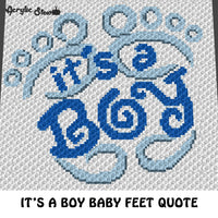 It's A Boy Baby Feet Baby Shower Quote New Baby crochet graphgan blanket pattern; c2c, cross stitch graph; pdf download; instant download