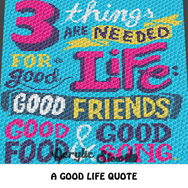 Good Friends Good Song Inspirational Quote crochet blanket pattern; c2c, graphgan; cross stitch graph; pdf download; instant download