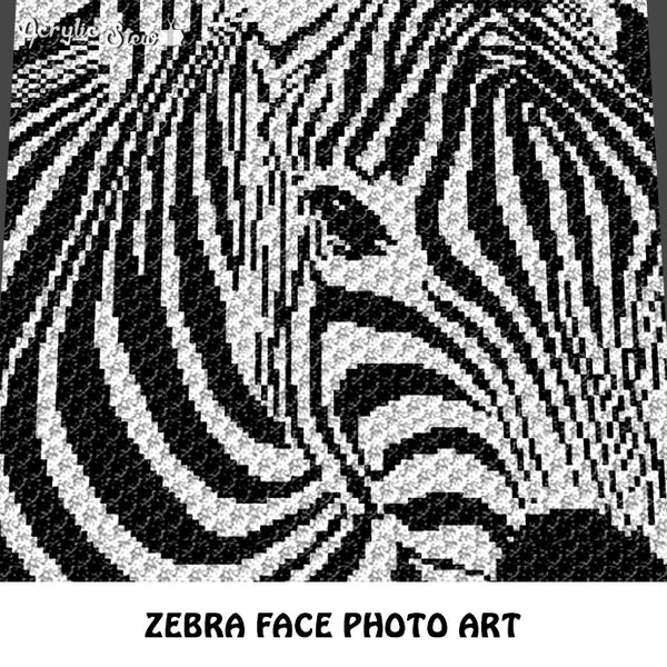 Zebra face photo alpha animal photography art crochet graphgan blanket pattern c2c cross stitch