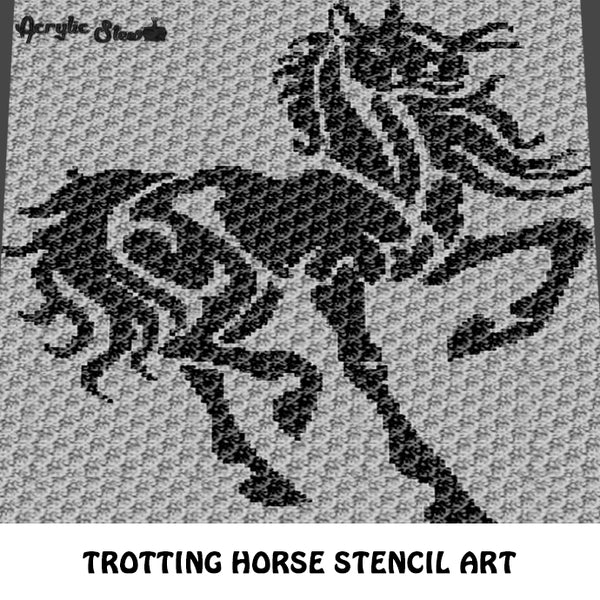 Trotting Horse Full Body Stencil Art crochet graphgan blanket pattern; graphgan pattern, c2c, cross stitch graph; pdf download; instant download