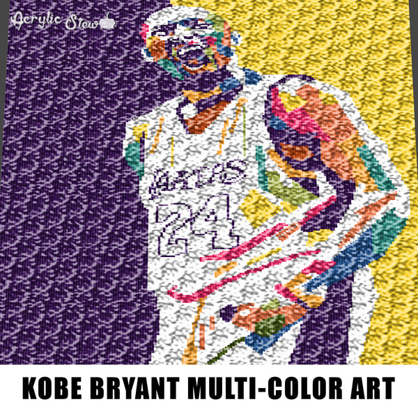 Kobe Bryant Multi Color Art Graphic NBA Player LA Lakers crochet graphgan blanket pattern; graphgan pattern, c2c; single crochet; cross stitch; graph; pdf download; instant download