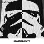 Star Wars Stormtrooper Villain Black and White Alpha Art crochet graphgan blanket pattern; c2c, single crochet; cross stitch; graph; pdf download; instant download