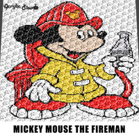 Mickey Mouse Firefighter Fireman Disney Cartoon Fire Hose and Hydrant crochet graphgan blanket pattern; graphgan pattern; c2c; cross stitch; graph; pdf download; instant download