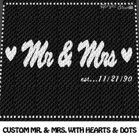 Custom Mr and Mrs With Hearts and Dotted Outline crochet blanket pattern; c2c, cross stitch graph; instant download