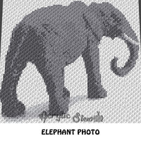 Custom Gray Elephant Photograph crochet blanket pattern; c2c, cross stitch graph; instant download