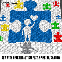 Autism Boy Touching A Heart In a Puzzle Piece With His Shadow Autism Awareness crochet graphgan blanket pattern; c2c; single crochet; cross stitch; graph; pdf download; instant download
