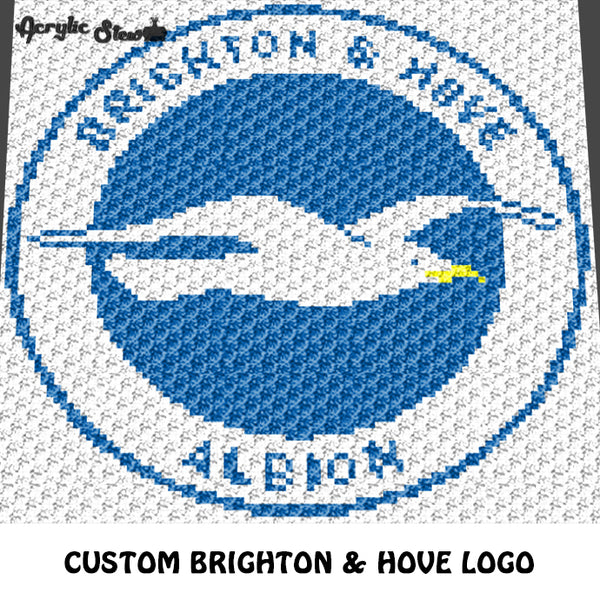 Custom Brighton & Hove Logo crochet graphgan blanket pattern; c2c, cross stitch graph; pdf download; instant download