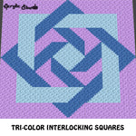 Tri-Color Interlocked Squares Blue Lavender crochet graphgan blanket pattern; c2c, cross stitch graph; pdf download; instant download