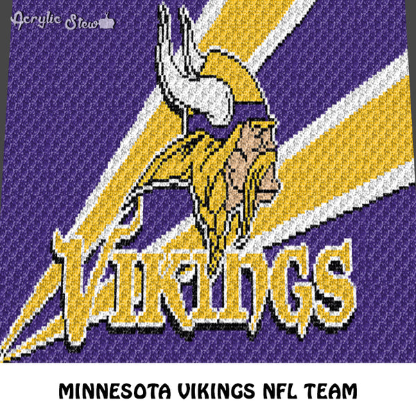 Minnesota Vikings NFL Football Team Logo Design crochet graphgan blanket pattern; c2c, cross stitch graph; pdf download; instant download