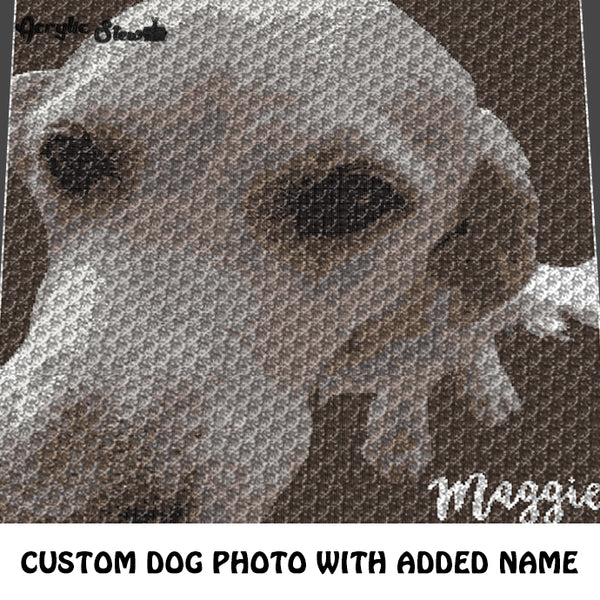 Custom Dog Beloved Family Pet Photo Personalized with Name 'Maggie' crochet graphgan blanket pattern; c2c, cross stitch graph; pdf download; instant download
