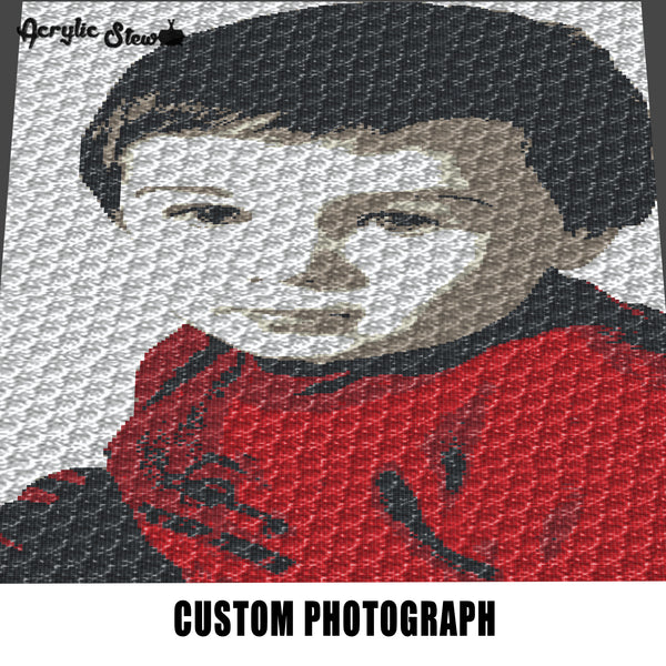 Custom Color Photograph Grandson Photo crochet graphgan blanket pattern; c2c; single crochet; cross stitch; graph; pdf download; instant download