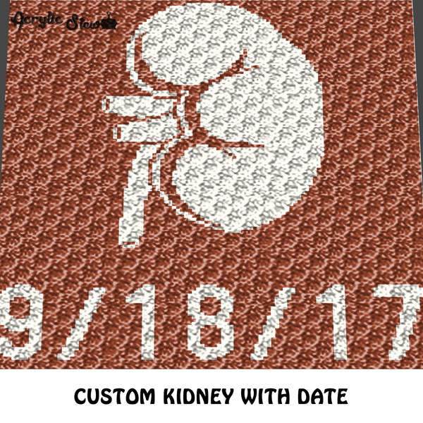 Custom Kidney Transplant Memorial Art with Custom Date crochet graphgan blanket pattern; c2c, cross stitch graph; pdf download; instant download