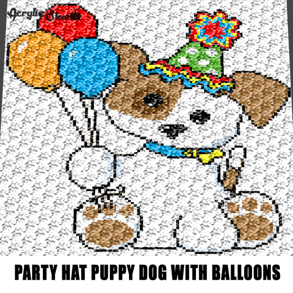 Spotted Puppy Dog With Party Hat and Balloons crochet graphgan blanket pattern; c2c, cross stitch graph; pdf download; instant download
