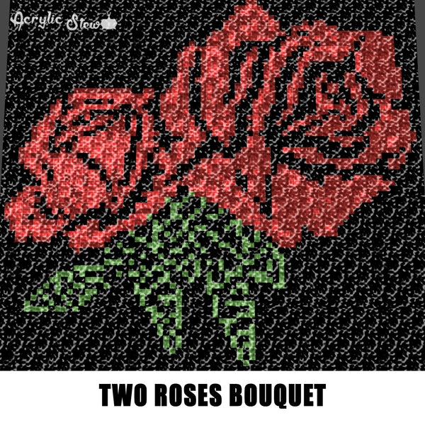 Roses Are Red Two Roses Floral Bouquet crochet graphgan blanket pattern; c2c, cross stitch; graph; pdf download; instant download
