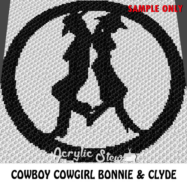 Cowboy Cowgirl Country Western crochet blanket pattern; c2c, cross stitch graph; instant download