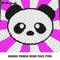 Kawaii Panda Face Baby Animals Pink Background Endangered Species crochet graphgan blanket pattern; graphgan pattern, c2c, cross stitch graph; pdf download; instant download