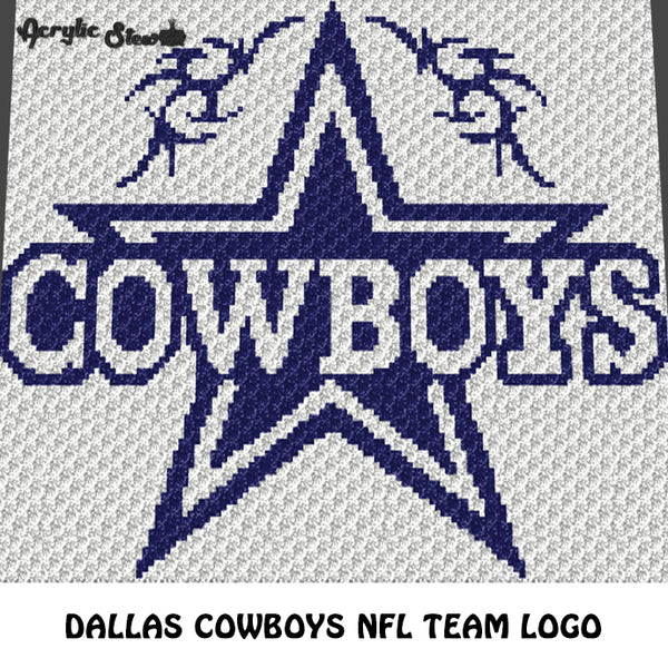 Dallas Cowboys NFL Football Team Logo crochet graphgan blanket pattern; c2c, cross stitch graph; pdf download; instant download